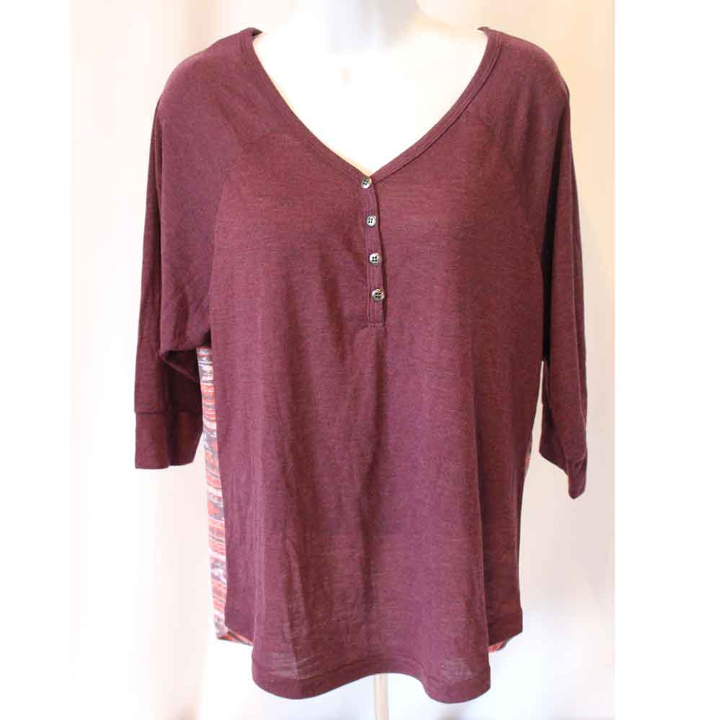 Western Shirt Womens 3/4 Sleeve Henley Purple