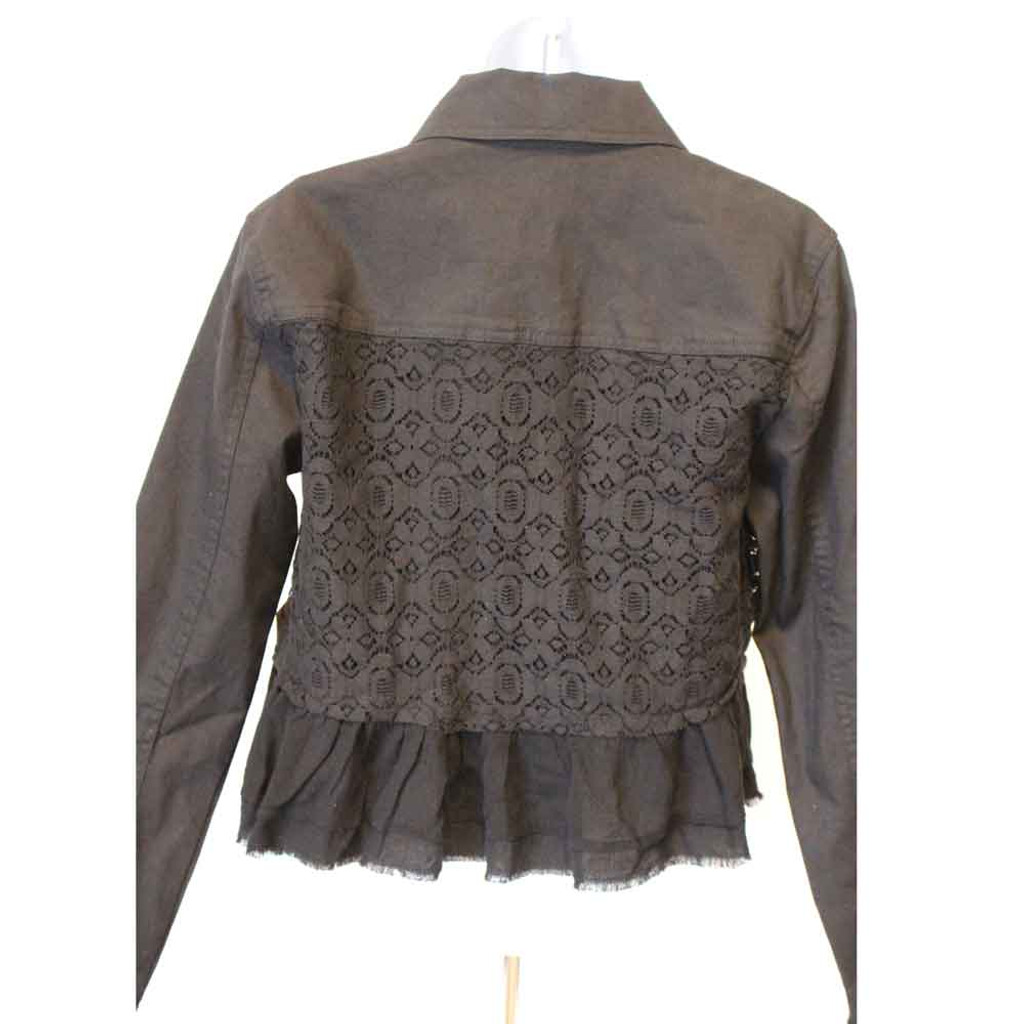 Denim and Lace Black Ladies Jacket