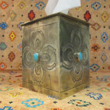 STAMPED TISSUE BOX COVER WITH TURQUOISE