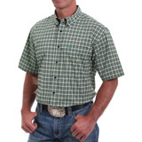 Arena Flex Green Plaid Button Front