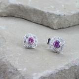 Bezel Set Square Pink Crystal Earrings