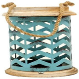 Western Moments Metal Turquoise Chevron Candle Holder