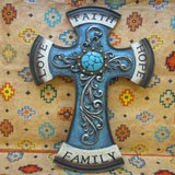Family Turquoise Decorative Wall Cross