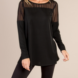 Lace Inset Tunic Knit Top