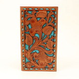 Western Men's Rodeo Wallet Floral Turquoise Underlay