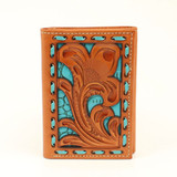 Nocona Western Mens Wallet Trifold Floral Turquoise Underlay