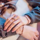 Three Times s Stone Rose Fold Horseshoe Nail Ring