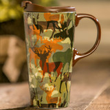 Woodland Camouflage Ceramic Travel Cup