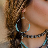 Turquoise Beaded Dangle Hoop Earring with Blossom Accent