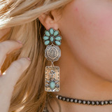 Silver and Turquoise 3 Tier Post Earring