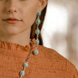 Turquoise 5 Stone drop Post Earring