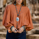 Faux Navajo Pearl and Turquoise Y Necklace with Large Concho