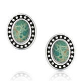Turquoise Cameo Post Earrings