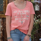 CRUEL GIRL Women's All You Need Is Love and Country Music Tee