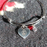 Bangle Bracelet with CFD Arrowhead Heart Charm (05-001-1160)
