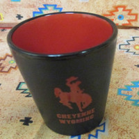 Cheyenne Wyoming Black and Red shot glass
