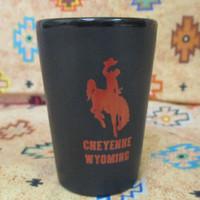 Cheyenne Wyoming Black and Red shot glass
