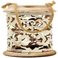 Western Moments White Distressed Metal Scrolled Cutout Candle Holder