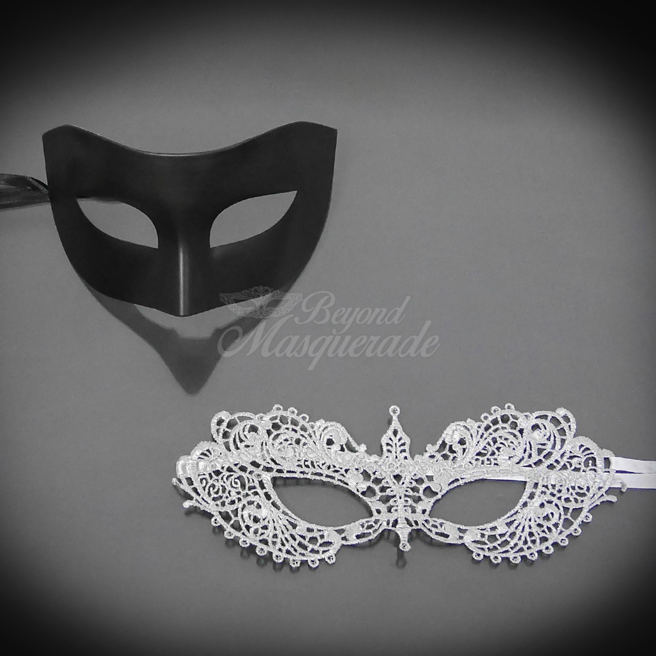 Couples Black//Purple Charming and Luxury Costume Party Masquerade Masks Set