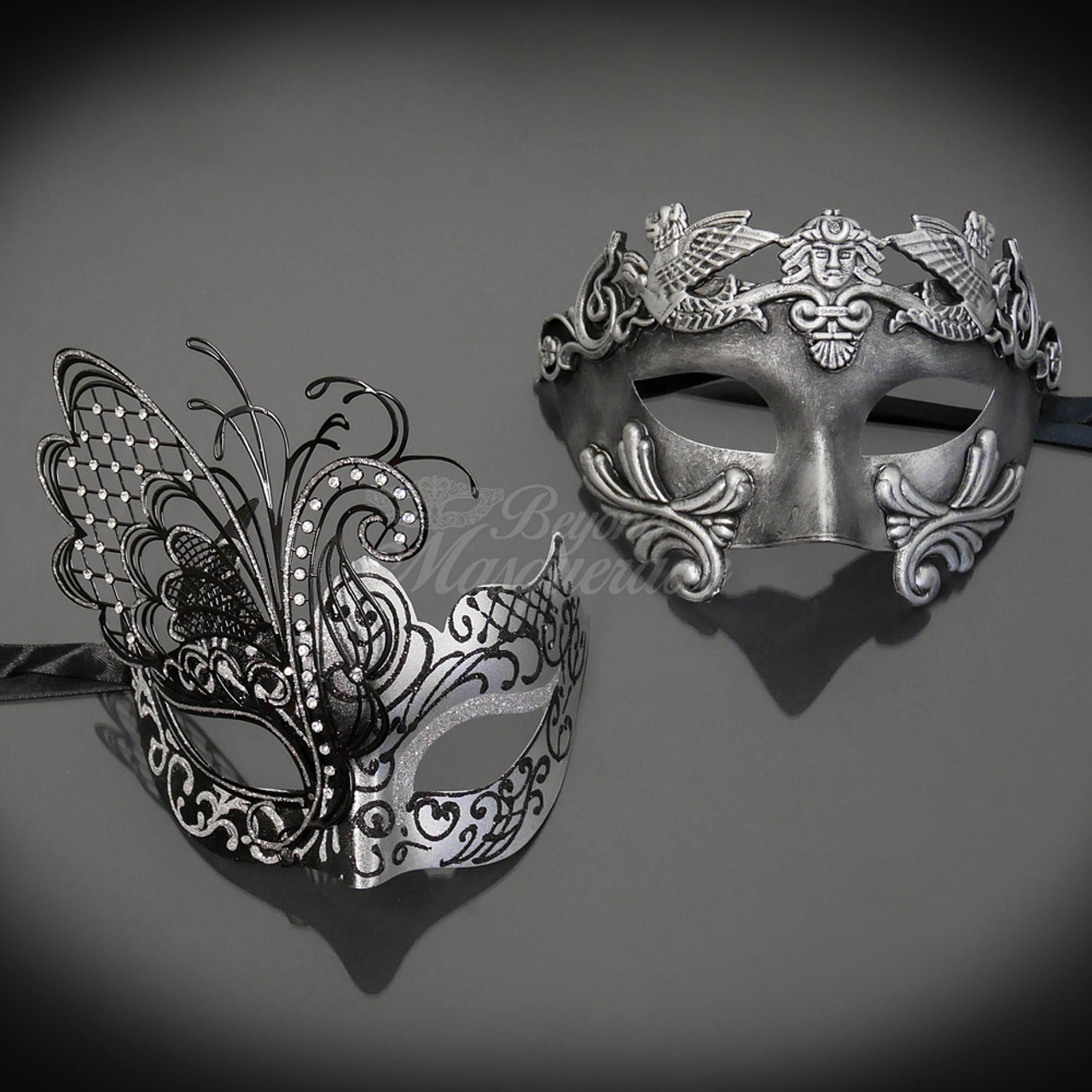 M6107 Couples Masquerade Red Silver M6131 Couple Masquerade Mask Set