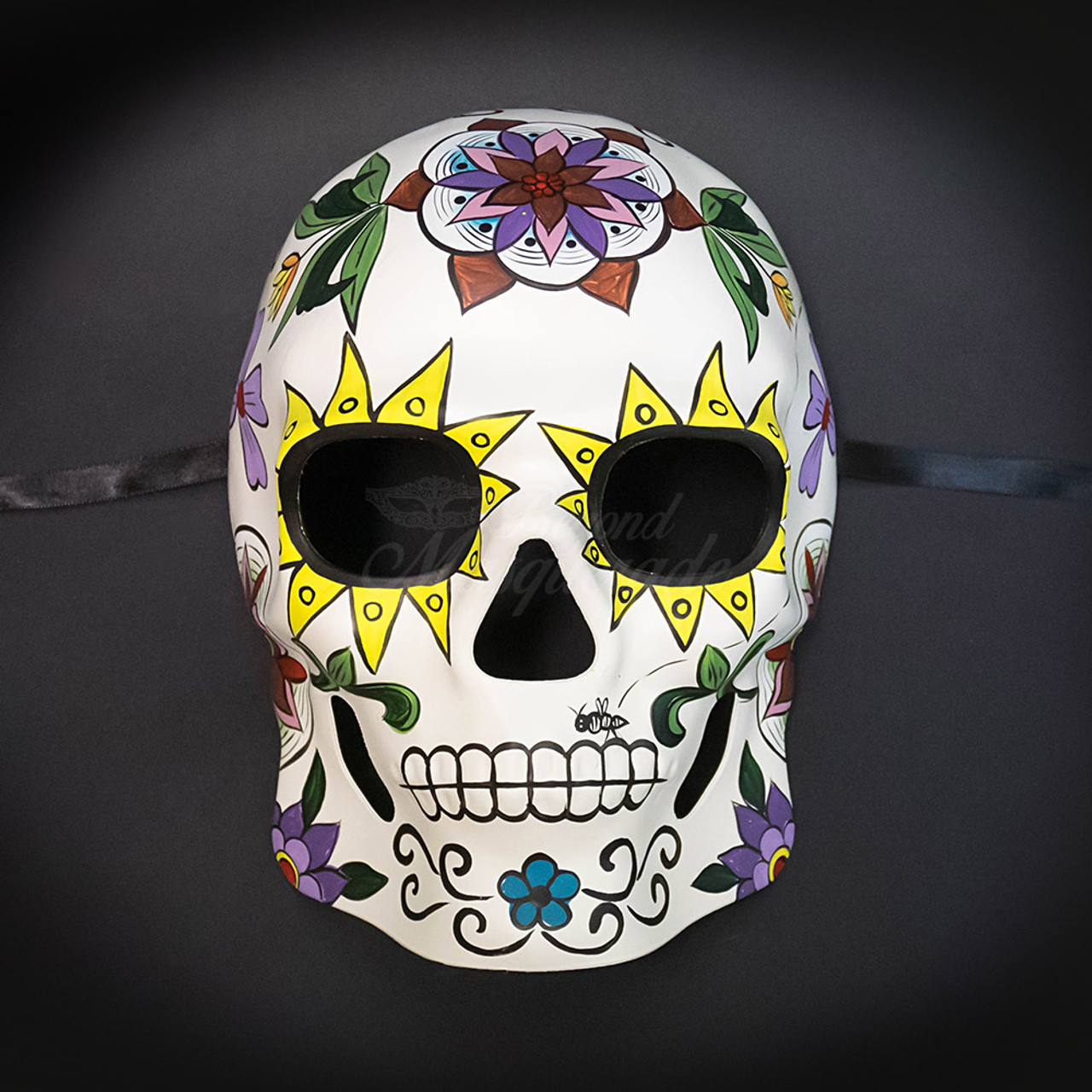 Day of the Dead Sugar Skull Plaster Hand Painted Mask with Flowers Halloween
