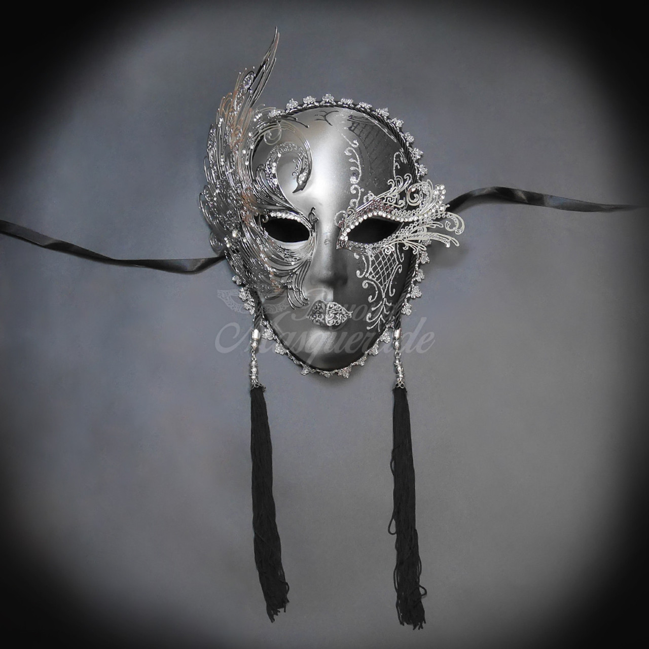 Black /& Silver Theme Carnival /& Metal Masquerade Prom Halloween Mask