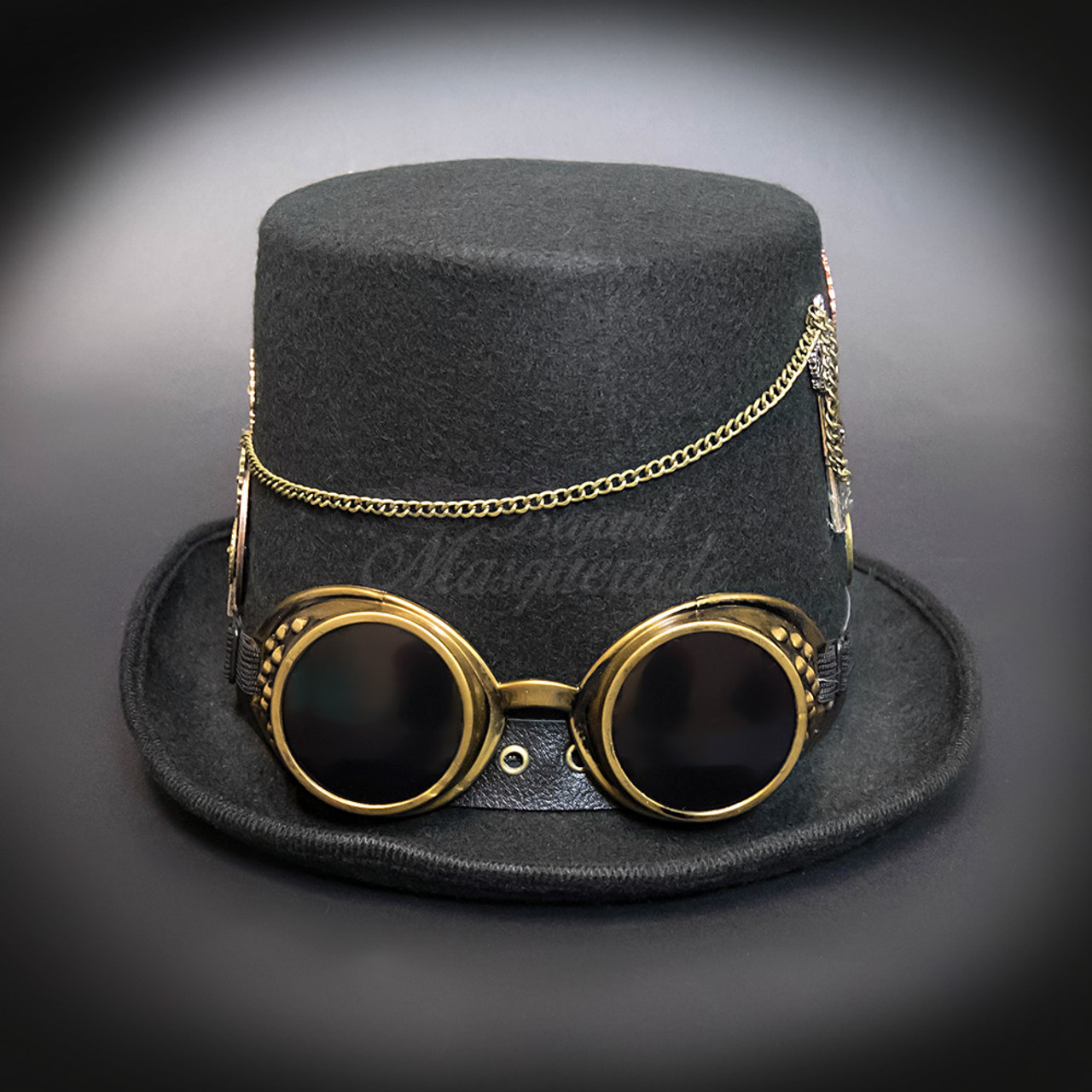 78f0c2028ee11 Steampunk Costume Black Hat Gold Goggles Gold Chains