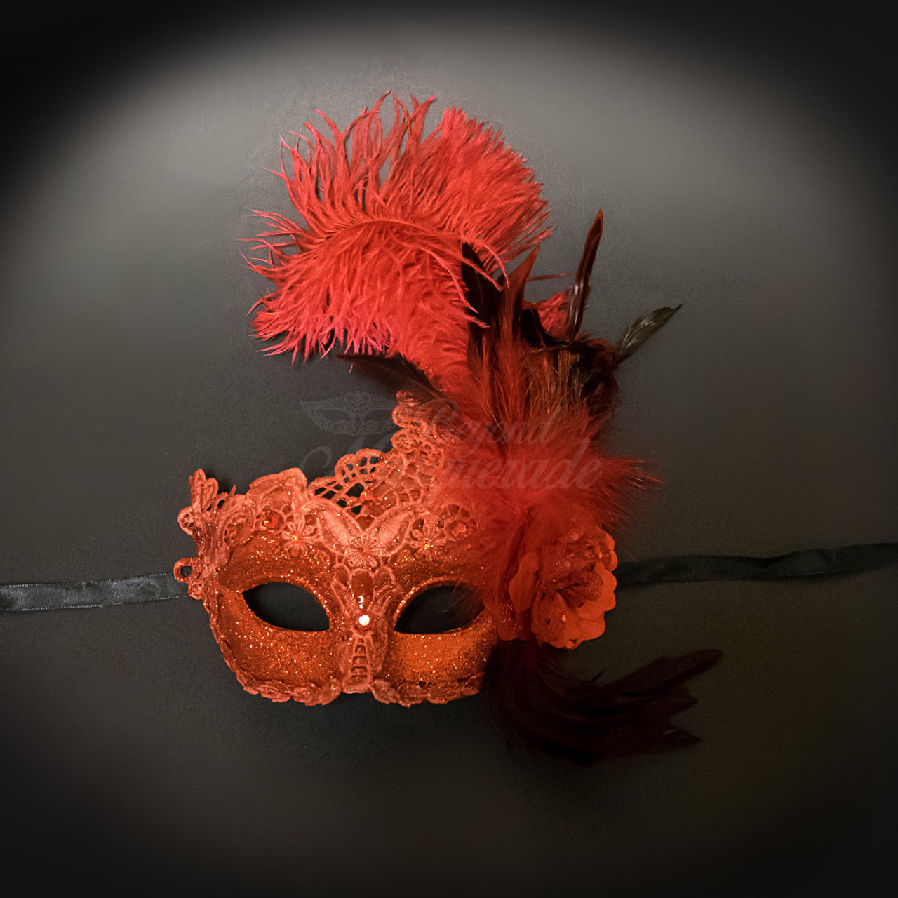 Red Eye Feather Mask Fancy Dress Night Party Red N
