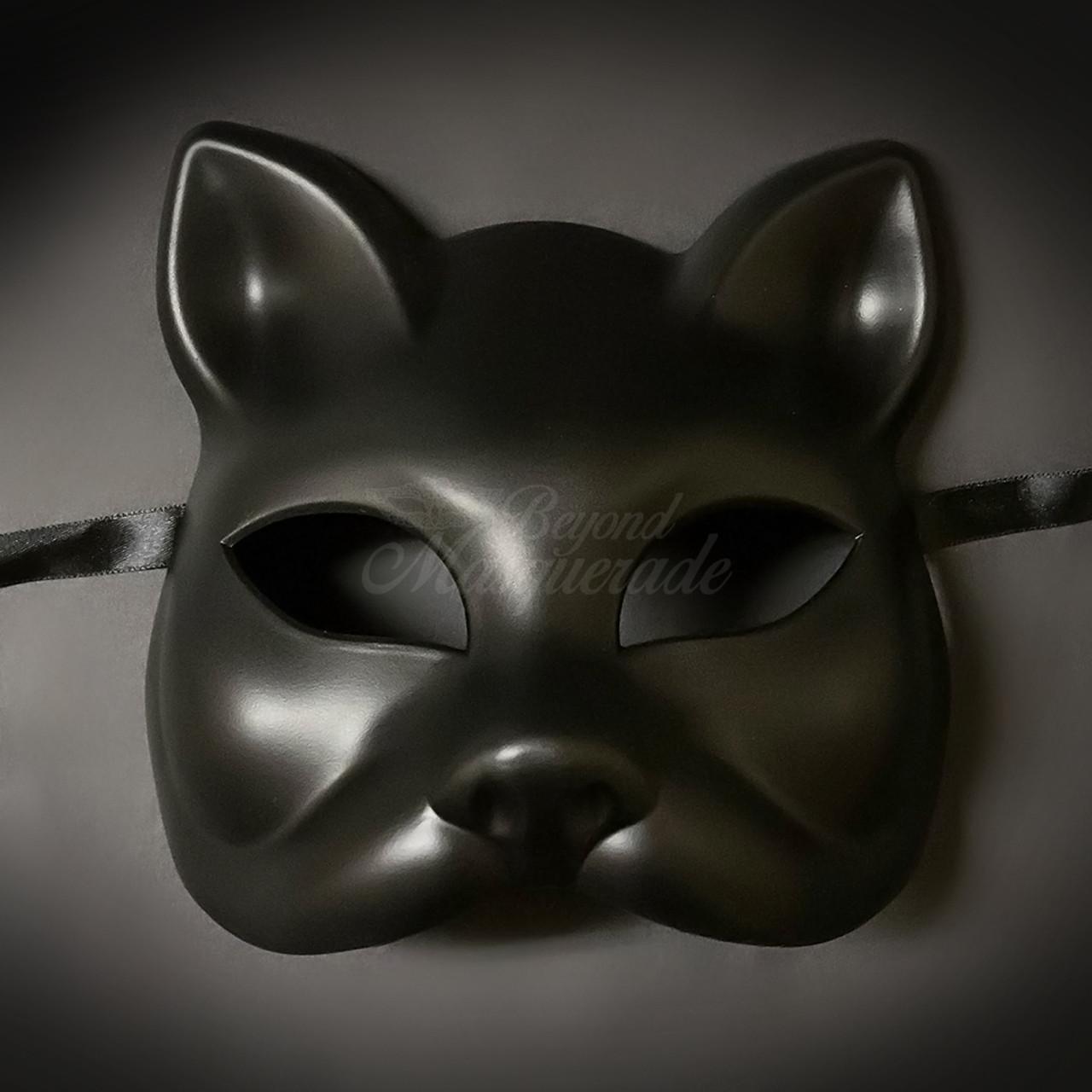Animal Masquerade Mask Men's Cat Mask Black