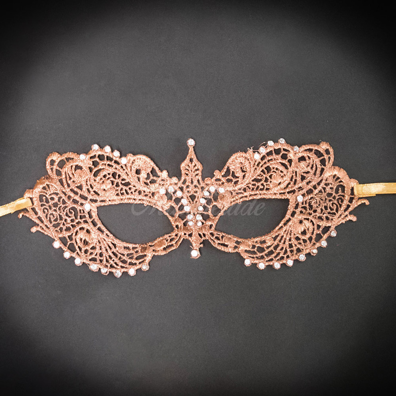 Costume Lace Mardi Gras Masquerade Mask Embellished with Gems for Women Gold