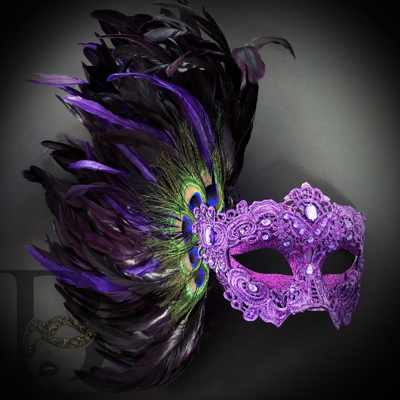Pure White And Silver Masquerade Mask With Feathers One Size