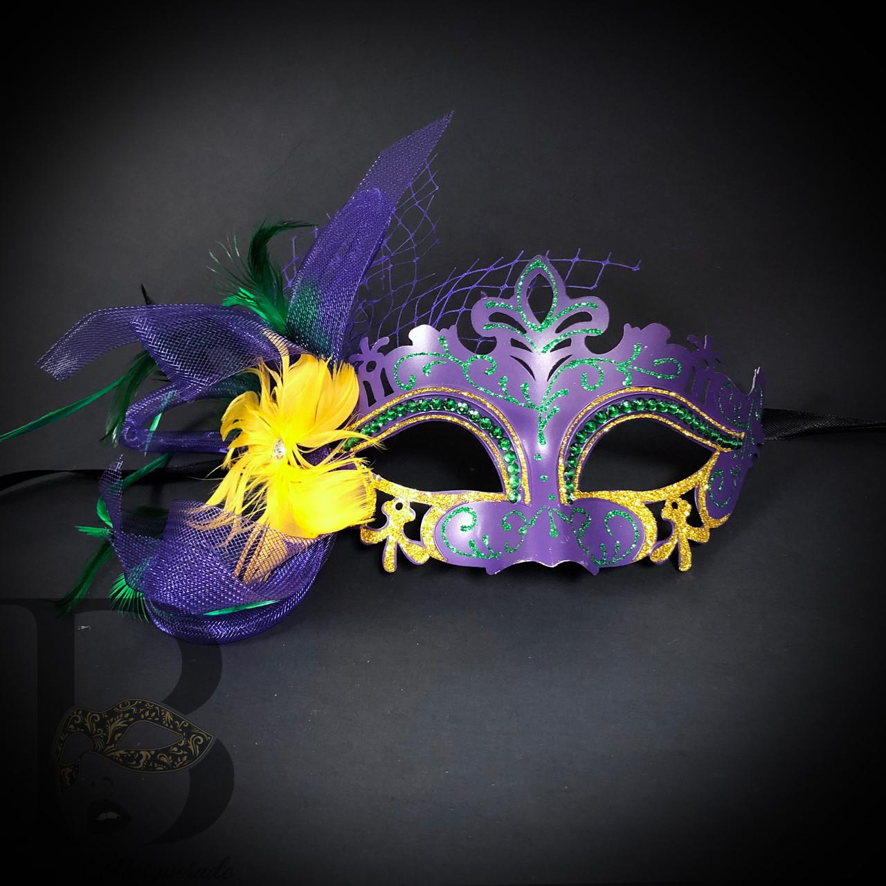 Mardi Gras Masquerade ball mask Purple Green Carnival Dress up Parade Party