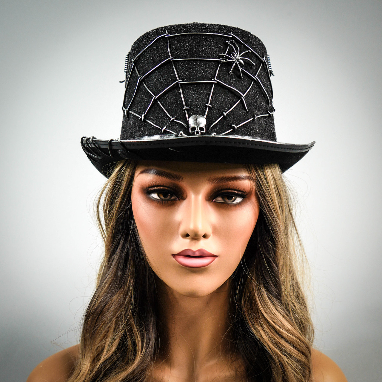 Brand New Steampunk Halloween Cosplay Costume Derby Feather Goggle Top Hat