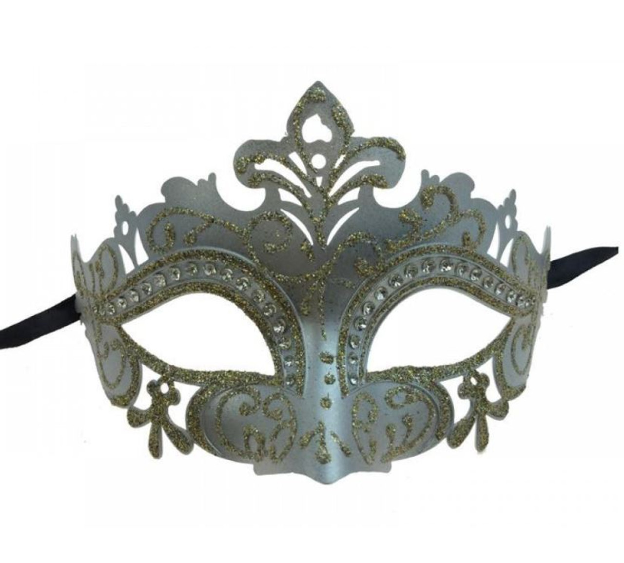 Silver Masquerade Mask Couple Halloween Costume 50 Shades of Grey Burlesque Prom