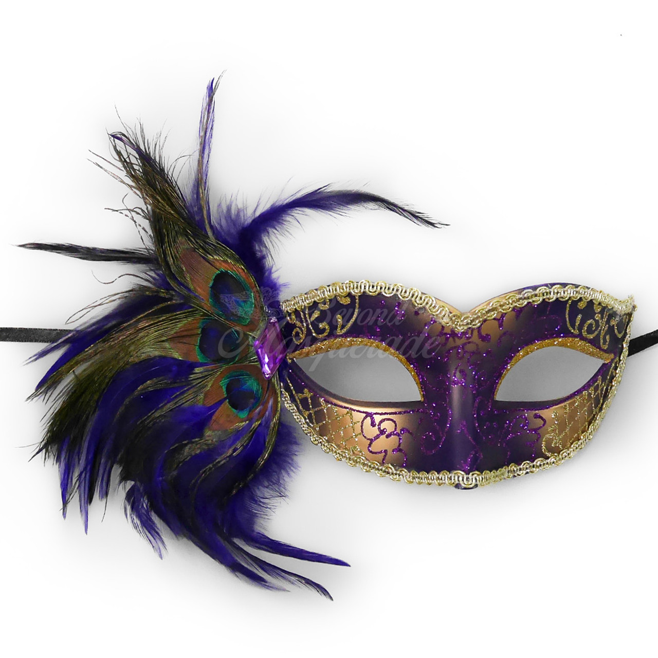 Purple Couple/'s Party Masquerade for Men Women Mask Venetian Feather Side Masks