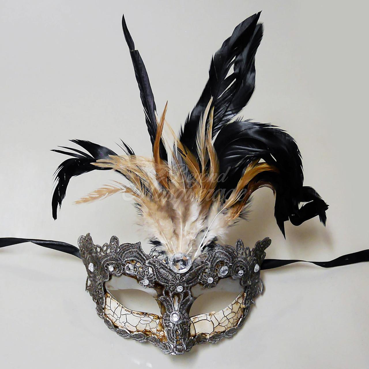 Greek Goddess Masquerade Mask Feathers Silver M7629