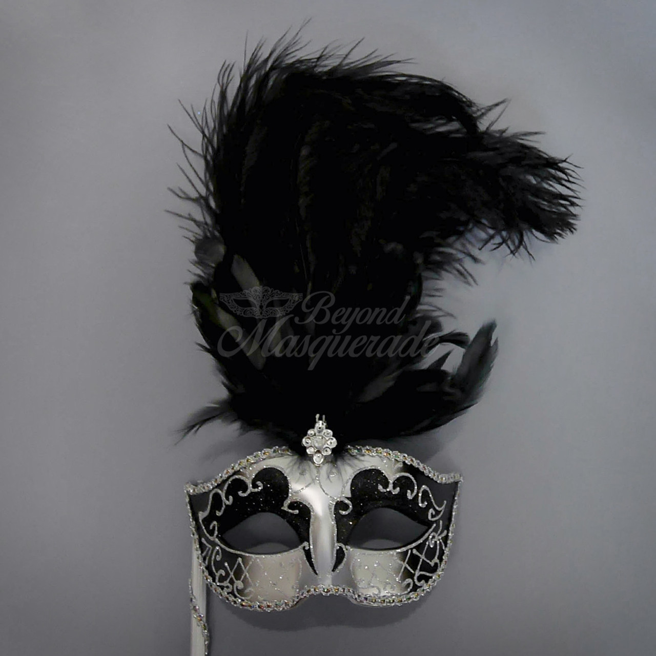 Mardi Gras Mask Silver /& White Mask with Handheld Stick Handheld Stick Mask Masquerade Ball Masquerade Mask Mardi Gras Masks