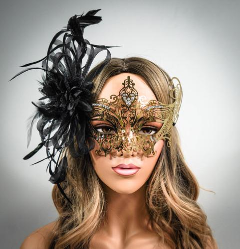 Brown masquerade mask woman feather masquerade masks brown topaz brown feather women masks