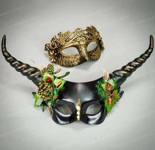 Smoking Macrame Gold Smart Couples Venetian Masks
