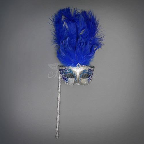 Masks on stick handheld Masquerade Masks couples feathers and gold paint