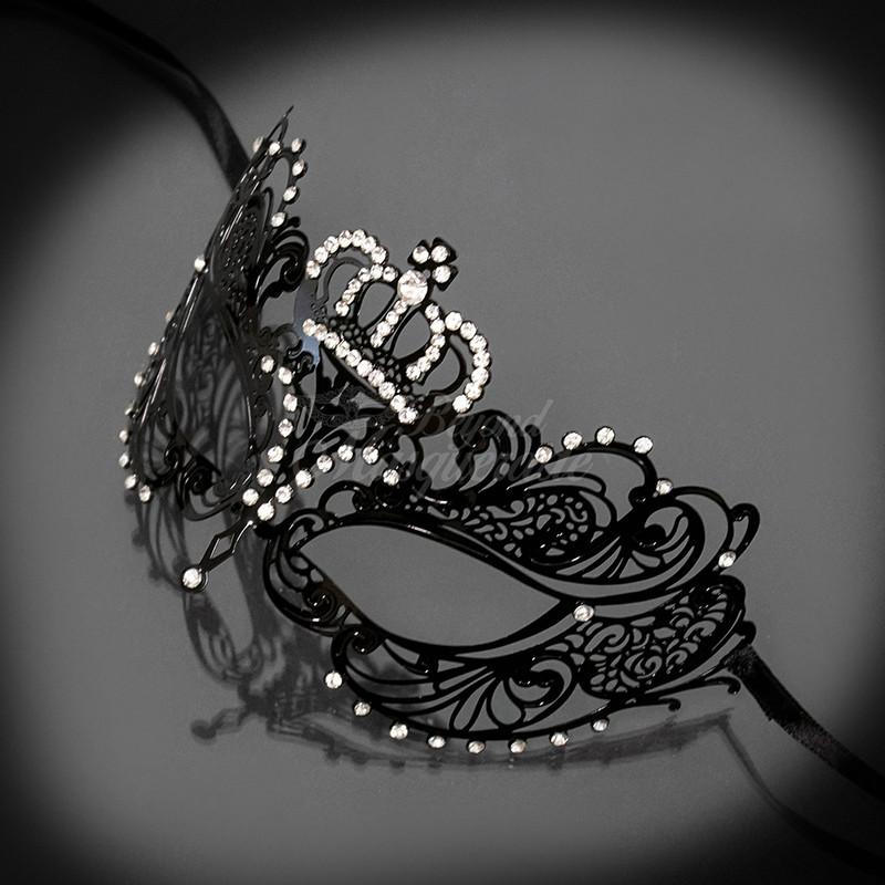 Masquerade Mask | Crown Metal Masquerade Mask Black with Rhinestones
