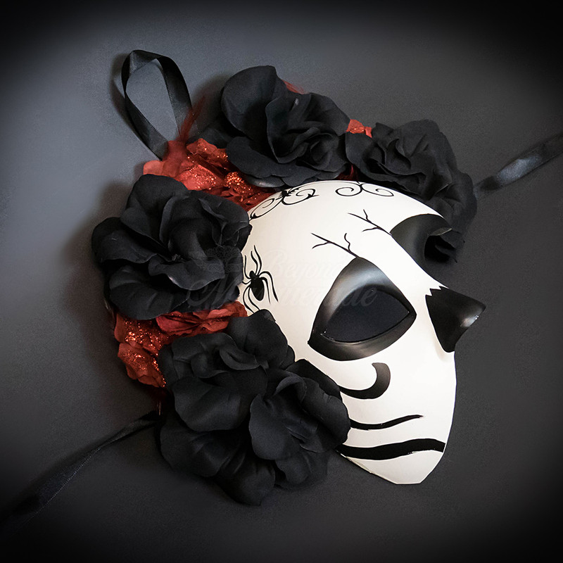 cef818a0269b ... Day of the dead mask, red and black roses, dia de los muertoes,