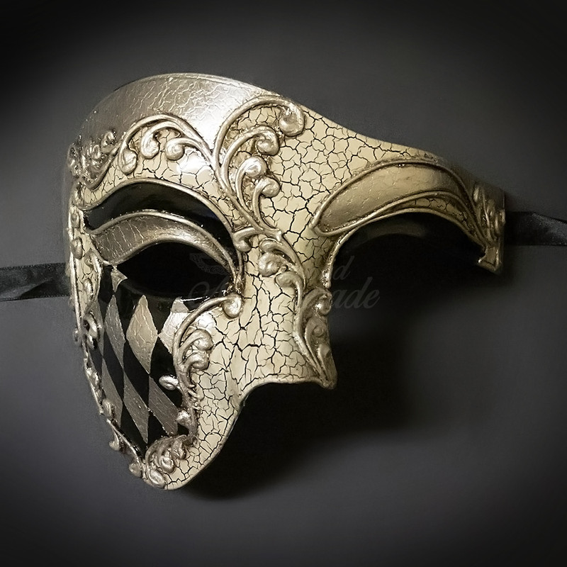 Halloween Phantom Masquerade Mask for Men Costume Theater Dress up Cosplay Party