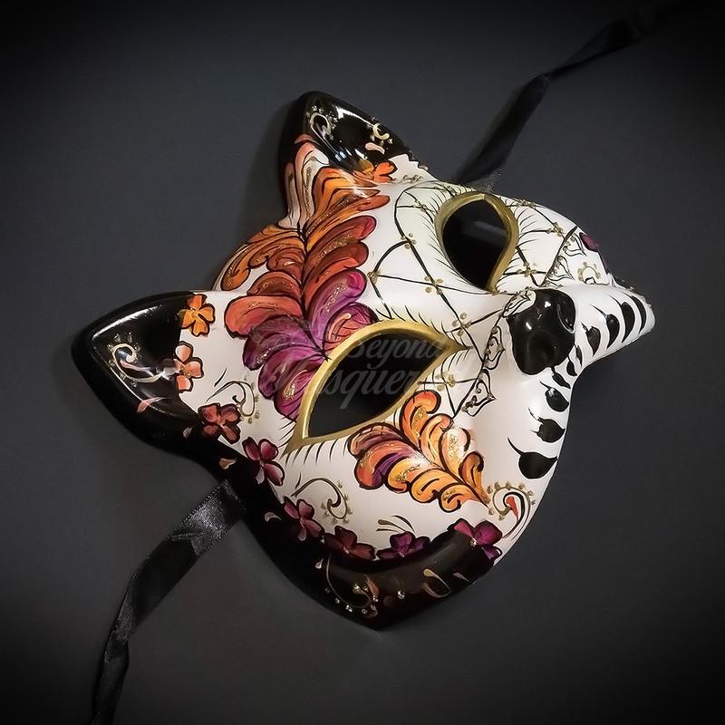 029df07e00c4 ... Gatto Cat Day of the Dead Mask | Dia de los Muertos Masquerade Mask  M9461 Red ...