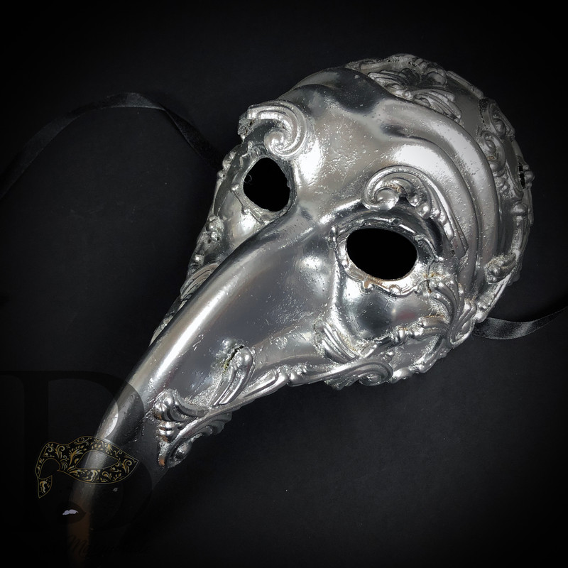 Long Nose Zanni Masquerade Steampunk Costume Mask for Halloween Party SILVER