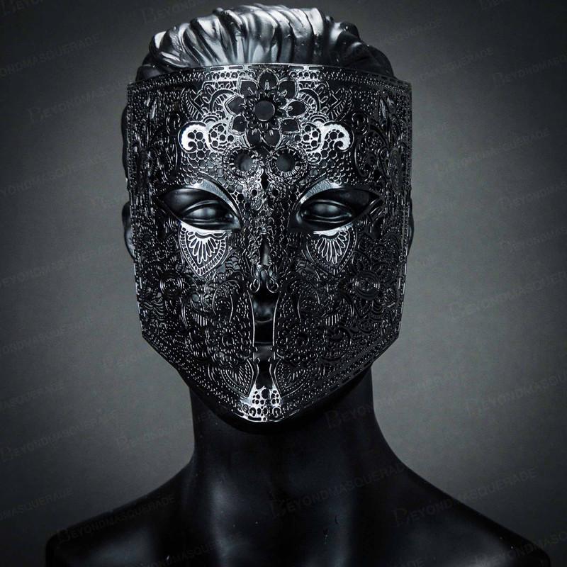 NEW Venetian Full Face Bauta Mask Masquerade Men Women Party Mask Gold Black