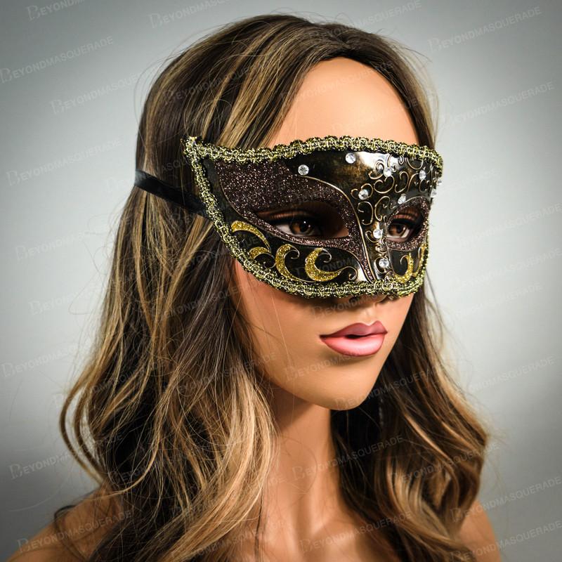 Noir Luxe Visage moitié Vénitien Mardi Gras Party Ball Masquerade Masque pour les hommes