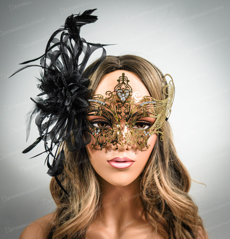 Gems and Diamonds Gold Mask with Feathers Tulle Veil The Great Gatsby Flapper/'s Dress Masquerade Mask