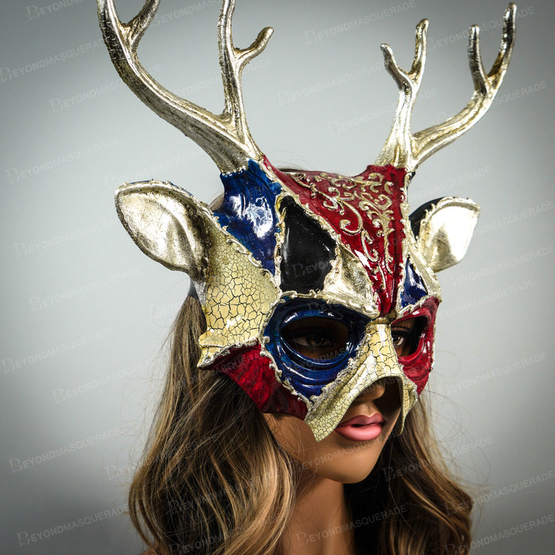 Black Masquerade Leather Mask with Big Horns Cosplay Halloween Costume UNISEX