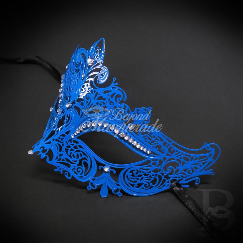 Blue Filigree Metal Venetian Masquerade Party Mask Silver Diamonte NEW *